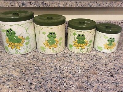 Vintage Sears Roebuck and Co.1977 4-Piece Neil the Frog Canister Set Japan