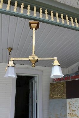 Antique Double Arms  Light Fixture Mission Style Arts And Crafts With Shade