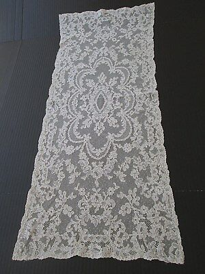 """EXQUISITE ANTIQUE FRENCH ALENCON LACE DRESSER SCARF/RUNNER..14"""" x 34"""""""