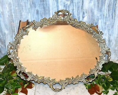 Antique French Gilded Bronze Vanity Mirror Tray Ornate Perfume Cosmetic Tray