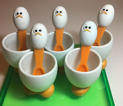 Egg Cup Set 5 Plastic With Feet Spoons Duck Faces