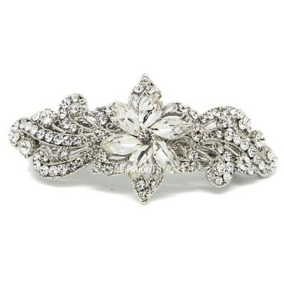 NEW Bridal Barrette Silver Color Rhinestone Crystal Flower Metal hair claws clip