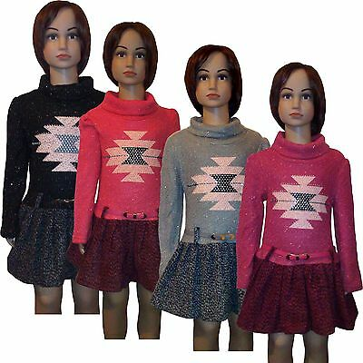 New Girls Dress Belt Knitted Tunic Pleated Top 2-12y Casual Formal Grey Pink #14