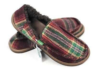 caf314b7b01 SANUK KIDS VAGABOND Plaid Chill Burgundy Youth Slip On Sidewalk Su Faux Fur  NEW -  39.99