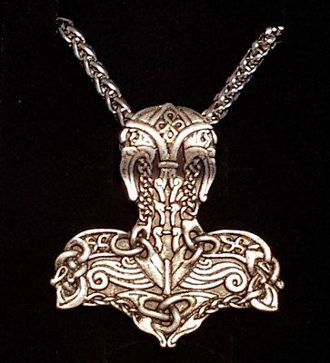 Viking Odin Thor Nordic Pendant Necklace Metal Chain Silver colour Gift cosplay