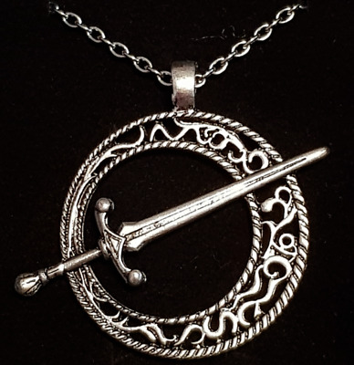 Viking Roman Medieval Sword Pendant Necklace Metal Chain Silver Gift cosplay