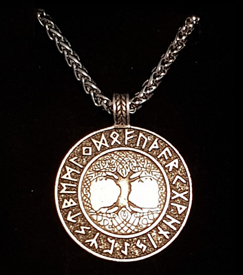 Viking Nordic Tree of Life Pendant Runes Necklace Metal Chain Silver Gift