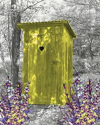 Yellow & Gray Home Decor Wall Art Photo Print Vintage Outhouse Bathroom Picture