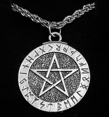 Viking Pentacle Star Sun Nordic Pendant Necklace Metal Chain Gift Colour Silver