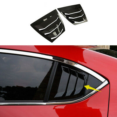 shiny Rear Quarter Panel Window Side Louvers Vent fit for Mazda3 4D 2014-2018