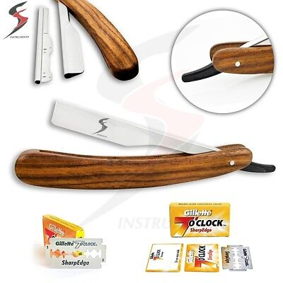SS Barber Straight Edge Cut Throat Shaving Razor Rasoirs/Rasoi Salon +10 Blades