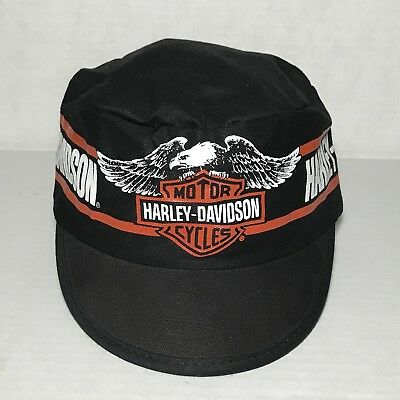 HARLEY DAVIDSON Vintage 80s 90s Painters Hat Cap OSFA Black Maid In USA Rare 0364425a9c3