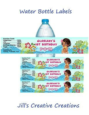 Moana water bottle labels, Moana, bottle labels, Party favors, Birthday, Floral