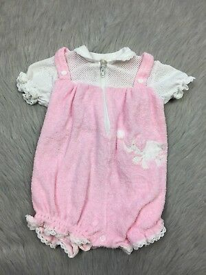 Vintage Baby Girls Pink Terry Cloth White Mesh Elephant Romper