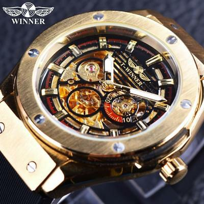 WINNER Luminous Luxury Automatic Mechanical Men Watch Skeleton Sports Style A0D4