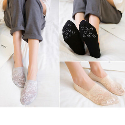 Women's Cotton Lace Flower Antiskid Invisible Liner No Show Low Cut Socks Summer