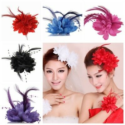 USA Women Rose Flower Feather Corsage Fascinator Hair Clip For Wedding Party