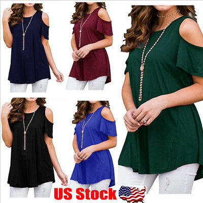 266548153a2 Womens Summer Cold Shoulder Tee Top Short Sleeve Blouse Casual T-Shirt Plus  Size