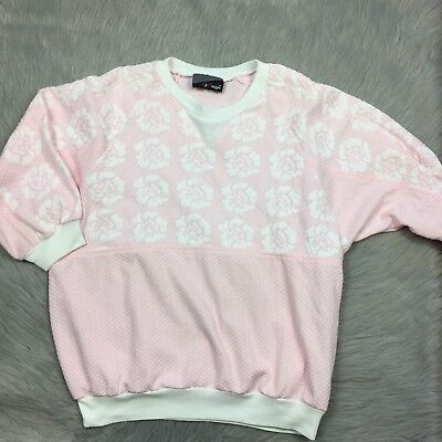Vintage 80s By Design Pink White Textured Floral Dot Pastel Rose Sweater