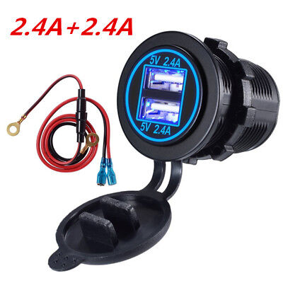 Dual 2.4A USB Fast Charger Motorcycle Power Adapter Blue LED Waterproof w/ Cable