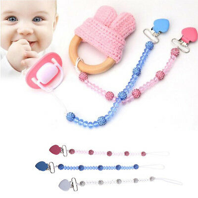 Baby Kids Dummy Pacifier Crystal Soother Nipple Leash Strap Chain Clips Holder