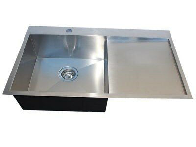 #304 Handmade Stainless Steel Kitchen Sink Single Bowl with Drainer (86cmx 50cm)