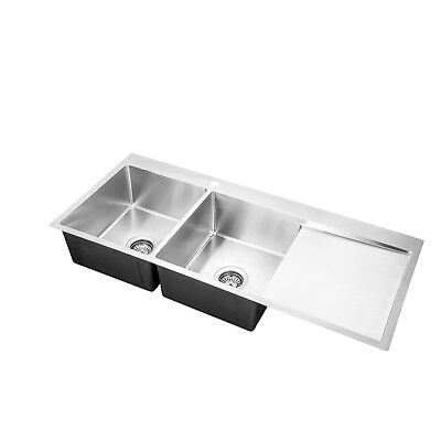 Handmade Stainless Steel Kitchen Sink Double Bowls with Drainer (111cm x 45cm)