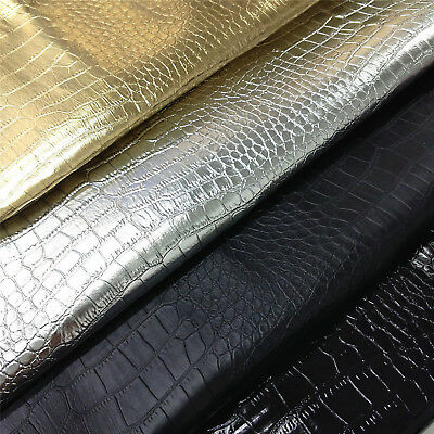 Metallic Crocodile Faux Leather Fabric PVC Synthetic Vinyl Upholstery  Material