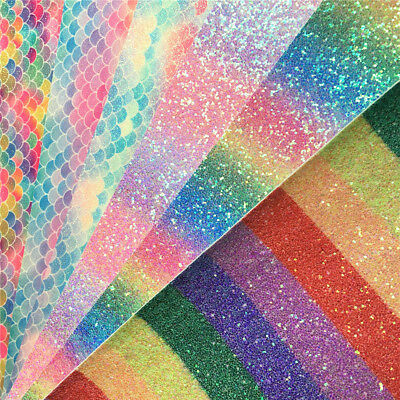 Rainbow Sparkle Mermaid Chunky Glitter Fabric Shiny Vinyl Leather Material Craft