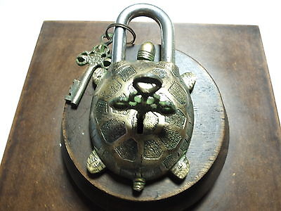 Vintage Antique Style Hand Made Solid Brass Turtle Puzzle PadLock
