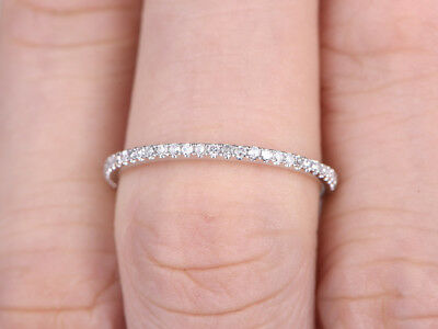 0 20ct Round Eternity Rings In 10k White Gold Thin Micro Pave Wedding Band