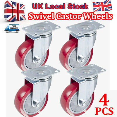 4 X Heavy Duty 100/ 125mm Swivel PU Castor Wheels Furniture Trolley Max 800KG