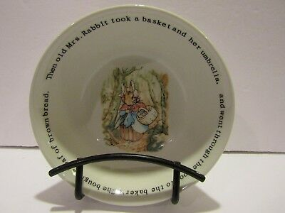 WEDGWOOD~The World of Beatrix Potter PETER RABBIT~Mrs Rabbit Took Her~BOWL-5.25""
