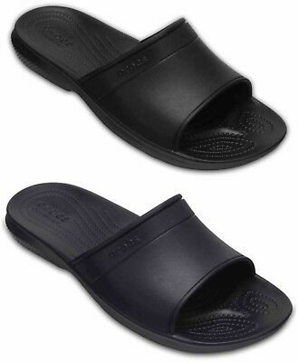Crocs Classic Slides Mens Women Sliders Flip Flops Beach Summer Shoes Black Navy