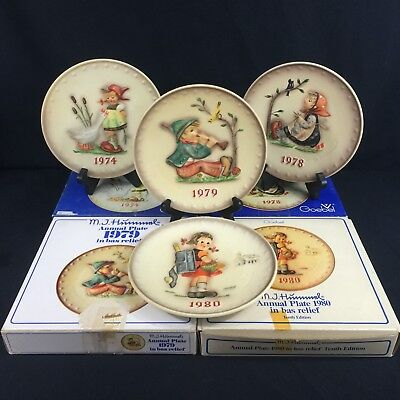 Set of 4 VTG Goebel M.J. Hummel W. Germany Annual Plates 1974,78,79,80 w/ Boxes