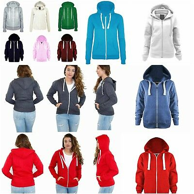 Women's Zip Up Hooded Jacket Ladies Girls Plain Coloured Hoodie Sweatshirt Tops