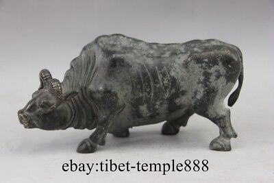 Ancient Bronze Lucky Chinese Zodiac Animal Cattle Ox Buffalo Fengshui Statue