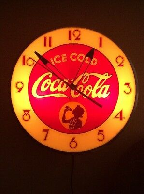 """Coca Cola 15"""" Round Silhouette Girl in Circle Clock Beautiful Working Condition"""