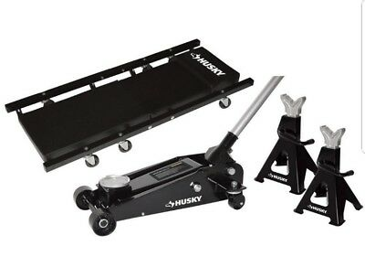 NEW Husky 3 Ton Steel Floor Jack Creeper and Jack Stands Set Free Shipping