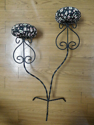 Vintage Twisted Metal Hat Rack Stand Display Fabric Padded Holder