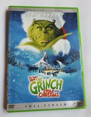 How the Grinch Stole Christmas (DVD, 2001, Full Frame) Jim Carrey Dr Seuss used