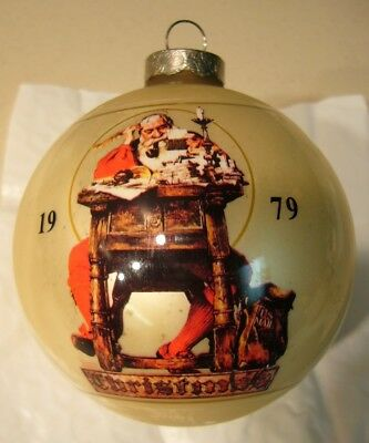 Vintage Norman Rockwell 1979 Limited Edition Santa At His Desk W/ List Ornament