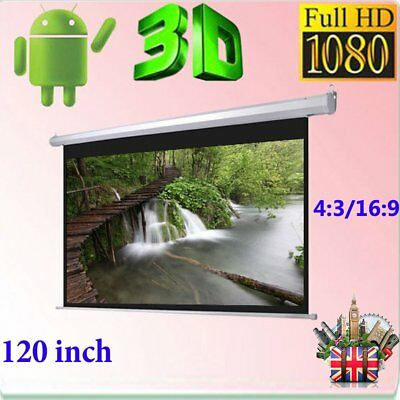 120 inch 16:9 Remote Control Pull Down Wall Mounted Projector Screen Matt White