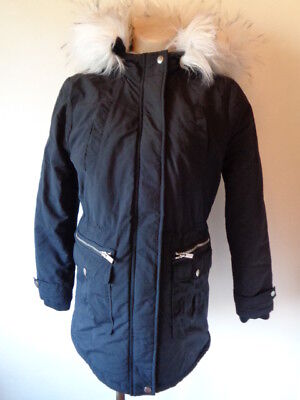 New Look Maternity Navy Quilted Showerproof Parka Coat Jacket Size 8