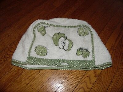 Vintage White Terry Cloth Green Apples Small Retro Toaster Cover