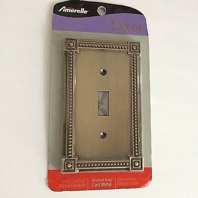 Amerelle Single Toggle Switch Plate Brushed Brass Wall Plate Hardware Cover