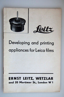 1937 Original Leica Leitz 16 page book on Leica Developing and printing gear