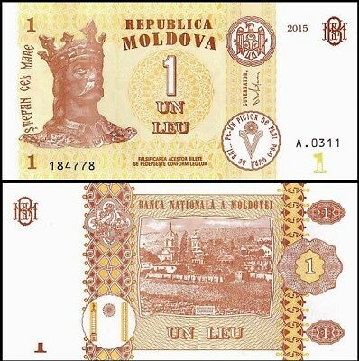 MOLDOVA 1 Lei, 2015, P-21, UNC World Currency