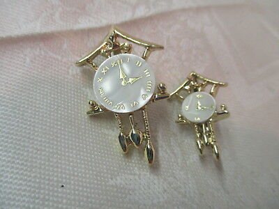 Vintage pair gold tone Scatter Pins Brooches Cuckoo Clocks