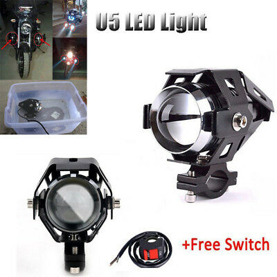 3000LM 125W U5 Motorcycle Fog Light Cree LED Headlight Driving Spot Lamp +Switch